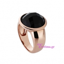 Oxette | Ασημένιο δαχτυλίδι Oxette από ροζ επιχρυσωμένο ασήμι 925ο με ημιπολύτιμες πέτρες (Αχάτης). 04X01-03396