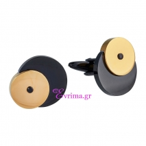 Visetti | Ανδρικά μανικετόκουμπα Visetti από ανοξείδωτο ατσάλι, με μαύρη και χρυσή επιμετάλλωση (Ion Plated Black and Gold). [AD-MN027G]