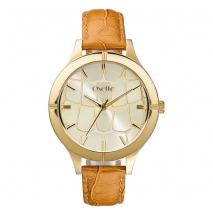 Oxette ρολόι με χρυσή κάσα και δερμάτινο λουράκι.  [11X65-00152]