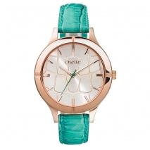Oxette ρολόι με ροζ χρυσή κάσα και δερμάτινο λουράκι.  [11X65-00154]