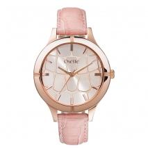 Oxette ρολόι με ροζ χρυσή κάσα και δερμάτινο λουράκι.  [11X65-00171]