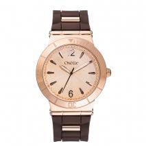 Oxette ρολόι με ροζ χρυσή κάσα και λουράκι από Καουτσούκ (Rubber).  [11X75-00224]
