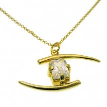 Χειροποίητο κολιέ (Ματάκι) από επιχρυσωμένο ασήμι 925ο με ημιπολύτιμες  πέτρες (Ζιργκόν).  IJ-040036  dbbdae86355