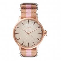 Oxette ρολόι με ροζ χρυσή κάσα και λουράκι. [11X65-00159]