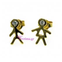Χειροποίητα σκουλαρίκια (Παιδάκια) από επιχρυσωμένο ασήμι 925ο με ημιπολύτιμες πέτρες (Ζιργκόν). [IJ-020257]