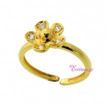 Χειροποίητο δαχτυλίδι (Λουλούδι) από επιχρυσωμένο ασήμι 925ο με ημιπολύτιμες πέτρες (Ζιργκόν). [IJ-010322]