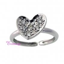 Χειροποίητο δαχτυλίδι (Καρδιά) από επιπλατινωμένο ασήμι 925ο με ημιπολύτιμες πέτρες (Ζιργκόν). [IJ-010323]