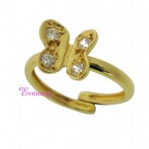 Χειροποίητο δαχτυλίδι (Πεταλούδα) από επιχρυσωμένο ασήμι 925ο με ημιπολύτιμες πέτρες (Ζιργκόν). [IJ-010324]
