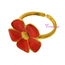 Χειροποίητο δαχτυλίδι (Λουλούδι) από επιχρυσωμένο ασήμι 925ο με ημιπολύτιμες πέτρες (Σμάλτο). [IJ-010325]
