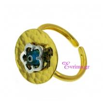 Χειροποίητο δαχτυλίδι (Λουλούδι) από επιχρυσωμένο ασήμι 925ο με ημιπολύτιμες πέτρες (Ματάκι). [IJ-010326]