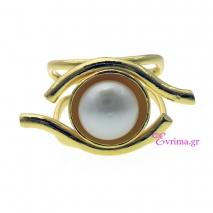 Χειροποίητο δαχτυλίδι (Μάτι) από επιχρυσωμένο ασήμι 925ο με ημιπολύτιμες πέτρες (Πέρλες). [IJ-010327]