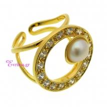 Χειροποίητο δαχτυλίδι (Κύκλος) από επιχρυσωμένο ασήμι 925ο με ημιπολύτιμες πέτρες (Πέρλες και Ζιργκόν). [IJ-010328]