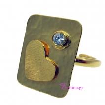 Χειροποίητο δαχτυλίδι (Τετράγωνο με Καρδιά) από επιχρυσωμένο ασήμι 925ο με ημιπολύτιμες πέτρες (Ζιργκόν). [IJ-010329]