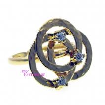 Χειροποίητο δαχτυλίδι (Κύκλοι) από επιχρυσωμένο ασήμι 925ο με ημιπολύτιμες πέτρες (Ζιργκόν). [IJ-010332]