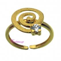 Χειροποίητο δαχτυλίδι από επιχρυσωμένο ασήμι 925ο με ημιπολύτιμες πέτρες (Ζιργκόν). [IJ-010333]
