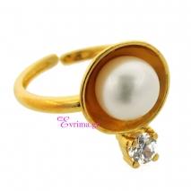 Χειροποίητο δαχτυλίδι από επιχρυσωμένο ασήμι 925ο με ημιπολύτιμες πέτρες (Πέρλες και Ζιργκόν). [IJ-010334]
