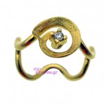 Χειροποίητο δαχτυλίδι από επιχρυσωμένο ασήμι 925ο με ημιπολύτιμες πέτρες (Ζιργκόν). [IJ-010335]