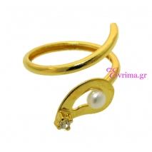 Χειροποίητο δαχτυλίδι από επιχρυσωμένο ασήμι 925ο με ημιπολύτιμες πέτρες (Πέρλες και Ζιργκόν). [IJ-010338]