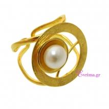 Χειροποίητο δαχτυλίδι (Κύκλος) από επιχρυσωμένο ασήμι 925ο με ημιπολύτιμες πέτρες (Πέρλες). [IJ-010339]