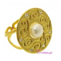 Χειροποίητο δαχτυλίδι από επιχρυσωμένο ασήμι 925ο με ημιπολύτιμες πέτρες (Πέρλες και Ζιργκόν). [IJ-010341]