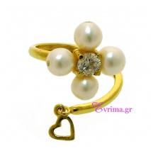 Χειροποίητο δαχτυλίδι (Σταυρός) από επιχρυσωμένο ασήμι 925ο με ημιπολύτιμες πέτρες (Πέρλες και Ζιργκόν). [IJ-010342]