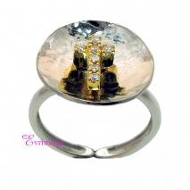 Χειροποίητο δαχτυλίδι (Σταυρός) από επιπλατινωμένο ασήμι 925ο με ημιπολύτιμες πέτρες (Ζιργκόν). [IJ-010344]