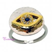 Χειροποίητο δαχτυλίδι (Μάτι) από επιπλατινωμένο ασήμι 925ο με ημιπολύτιμες πέτρες (Ζιργκόν). [IJ-010345]