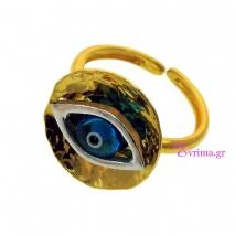 Χειροποίητο δαχτυλίδι (Μάτι) από επιχρυσωμένο ασήμι 925ο με ημιπολύτιμες πέτρες (Ματάκι). [IJ-010346]