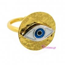 Χειροποίητο δαχτυλίδι (Μάτι) από επιχρυσωμένο ασήμι 925ο με ημιπολύτιμες πέτρες (Σμάλτο). [IJ-010347]