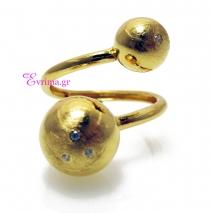 Χειροποίητο δαχτυλίδι (Σφαίρες) από επιχρυσωμένο ασήμι 925ο με ημιπολύτιμες πέτρες (Ζιργκόν). [IJ-010352]