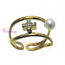 Χειροποίητο δαχτυλίδι (Σταυρός) από επιχρυσωμένο ασήμι 925ο με ημιπολύτιμες πέτρες (Πέρλες και Ζιργκόν). [IJ-010353]