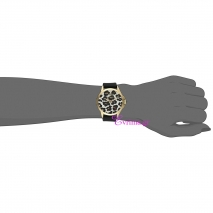 Juicy Couture Ρολόι από χρυσό ανοξείδωτο ατσάλι με μαύρο λουράκι από καουτσούκ 1901342 στο χέρι