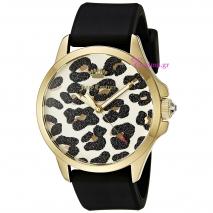 Juicy Couture ρολόι από χρυσό ανοξείδωτο ατσάλι με μαύρο λουράκι σιλικόνης 1901342