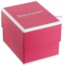 Juicy Couture Ρολόι από ροζ χρυσό ανοξείδωτο ατσάλι με λευκό λουράκι από καουτσούκ 1901405 κουτί