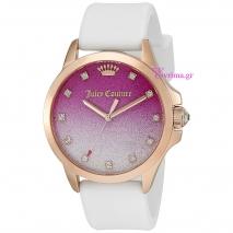 Juicy Couture ρολόι από ροζ χρυσό ανοξείδωτο ατσάλι με λευκό λουράκι σιλικόνης 1901405