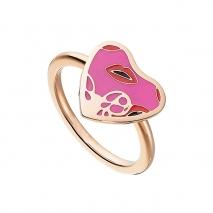 Loisir δαχτυλίδι από ανοξείδωτο ατσάλι (Stainless Steel) με ημιπολύτιμες πέτρες (Σμάλτο) και Ion Plated Rose Gold. [04L27-00642]