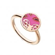 Loisir δαχτυλίδι από ανοξείδωτο ατσάλι (Stainless Steel) με ημιπολύτιμες πέτρες (Σμάλτο) και Ion Plated Rose Gold. [04L27-00643]