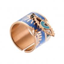 Loisir δαχτυλίδι από ανοξείδωτο ατσάλι (Stainless Steel) με ημιπολύτιμες πέτρες (Σμάλτο) και Ion Plated Rose Gold. [04L27-00650]