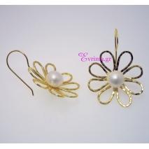 Χειροποίητα σκουλαρίκια (Λουλούδι) από επιπλατινωμένο ασήμι 925ο με ημιπολύτιμες πέτρες (Πέρλες). [IJ-020267]