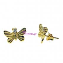 Χειροποίητα σκουλαρίκια (Πεταλούδα) από επιχρυσωμένο ασήμι 925ο με ημιπολύτιμες πέτρες (Ζιργκόν). [IJ-020274]