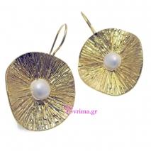 Χειροποίητα σκουλαρίκια από επιχρυσωμένο ασήμι 925ο με ημιπολύτιμες πέτρες (Πέρλες). [IJ-020277]