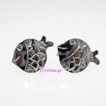 Χειροποίητα σκουλαρίκια (Ψαράκι) από επιπλατινωμένο ασήμι 925ο. [IJ-020293]