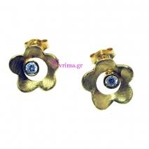 Χειροποίητα σκουλαρίκια (Λουλούδι) από επιχρυσωμένο ασήμι 925ο με ημιπολύτιμες πέτρες (Ζιργκόν). [IJ-020296]