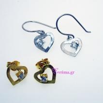Χειροποίητα σκουλαρίκια (Καρδιά) από επιπλατινωμένο/επιχρυσωμένο ασήμι 925ο με ημιπολύτιμες πέτρες (Ζιργκόν). [IJ-020299]