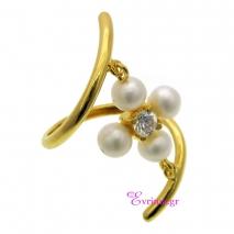 Χειροποίητο δαχτυλίδι (Σταυρός) από επιχρυσωμένο ασήμι 925ο με ημιπολύτιμες πέτρες (Πέρλες και Ζιργκόν). [IJ-010359]