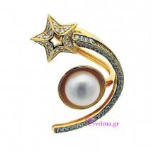 Χειροποίητο δαχτυλίδι (Κομήτης) από επιχρυσωμένο ασήμι 925ο με ημιπολύτιμες πέτρες (Πέρλες και Ζιργκόν). [IJ-010360]