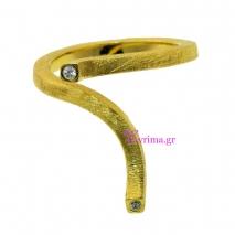 Χειροποίητο δαχτυλίδι από επιχρυσωμένο ασήμι 925ο με ημιπολύτιμες πέτρες (Ζιργκόν). [IJ-010362]