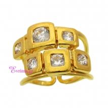 Χειροποίητο δαχτυλίδι από επιχρυσωμένο ασήμι 925ο με ημιπολύτιμες πέτρες (Ζιργκόν). [IJ-010363]