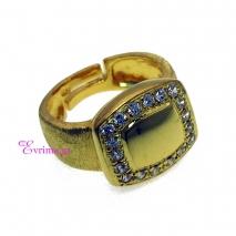 Χειροποίητο δαχτυλίδι (Τετράγωνο) από επιχρυσωμένο ασήμι 925ο με ημιπολύτιμες πέτρες (Ζιργκόν). [IJ-010364]