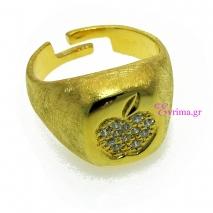 Χειροποίητο δαχτυλίδι (Μήλο) από επιχρυσωμένο ασήμι 925ο με ημιπολύτιμες πέτρες (Ζιργκόν). [IJ-010366]